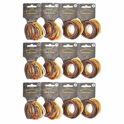 144  x  Thick Brown Tonal Endless Snag Free Hair Elastics/ Bobbles/ Ponios
