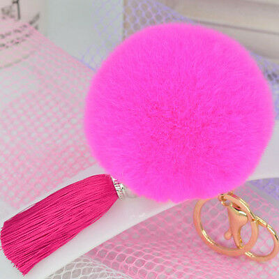 Pink Real Rex Rabbit Fur Ball Key Chain Fluff Pom Pom Keychain Charm Accessory
