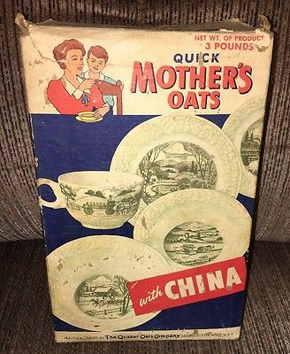 Rare Quick Mother's Oats Box W/china Advertising 1940/50's