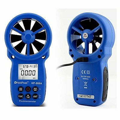 Holdpeak 866A Digital Anemometer - Wind Speed Meter Measures Wind Speed   Temper