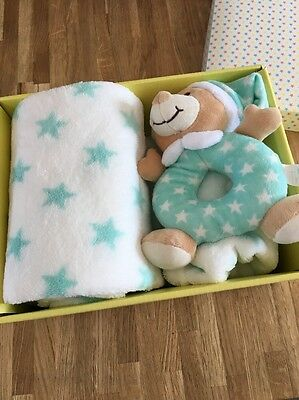 Baby Soft Toy & Blanket Present Gift New Rattle