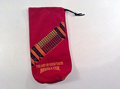 "BEEFEATER CLOTH BAG- 4""X10"" W/ DRAW STRINGS-golf valuables bag"