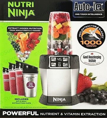 Nutri Ninja BL480 with Auto-iQ 1000W Extraction Blender with 4 Cups & Lids