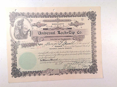 Universal Lock Tip - Company-1926- Stock Certificate-Scripophily-Finance