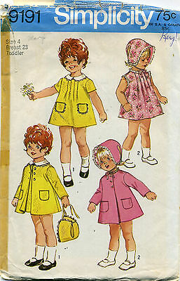 1970's Vintage SEWING PATTERN Toddler Girls DRESS COAT and REVERSIBLE Hat BONNET