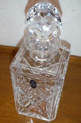 "Royal Doulton Square Cut Glass Crystal Decanter Finest English Crystal 9.5"" tall"