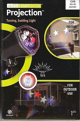 LED Light Show 15' Projection Turn & Swirl Red White Blue Indoor Outdoor 2016