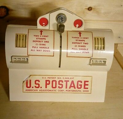 Vintage Postage Stamp Vending Postal Machine Late 50s Early 60s USPS 5 Cent Dime