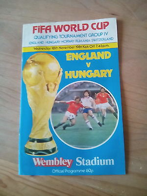England V Hungary Match Day Programme World Cup Qualifying Fixture 1981