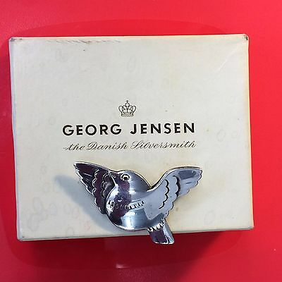 Rare Vintage Georg Jensen Danish Sterling Silver Bird Brooch Boxed 1950's