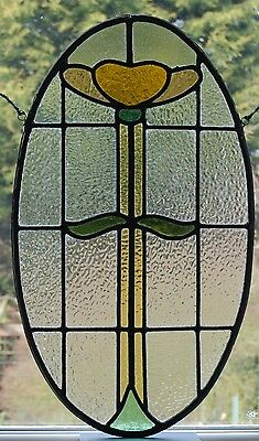 Antique Leaded Reclaimed Art Nouveau Stained Glass Window Panel