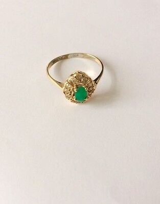 Vintage Art Nouveau Emerald Green Turquoise Chalcedony Gold Ring Q
