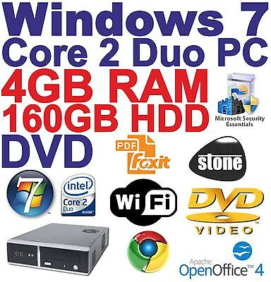 $Windows 7 Core 2 Duo Desktop PC Computer - 4GB RAM - 160GB HDD _ DVDRW-_WIFI-