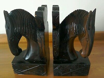 VINTAGE HAND CARVED ART DECO BOOKENDS IN SHAPE OF HORSES HEADS from EBONY