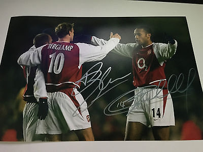 THIERRY HENRY & DENNIS BERGKAMP Signed Autographed Photo COA - ARSENAL
