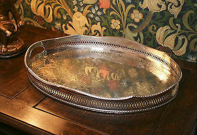 A Fine, Large English Silverplated Pierced Gallery Decanter Tray, PLS Sheffield