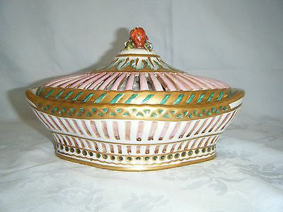 Vintage Sevres Bowl With Reticulated Lid Hand Painted Made In  Italy