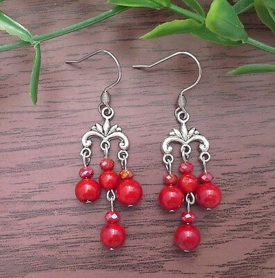 Red CORAL Small Chandelier Vintage Dangle Earrings ~ Stainless Steel Hooks