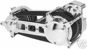"""Ultima 3.35"""" Polished Drag Style Open Belt Drive for Softail Models 1990-2006"""