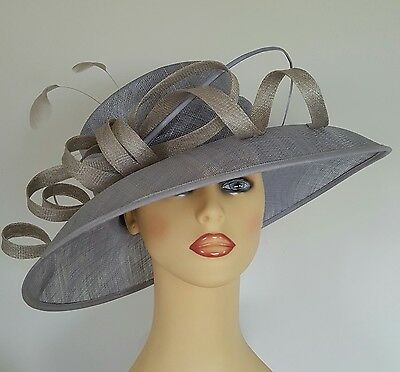Ladies Wedding Hat Ascot Races Mother Bride Blue & Silver Grey  NEW