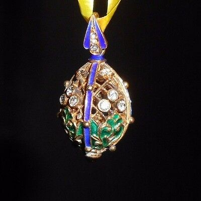 Russian Faberge Egg Pendant Gold Plated Blue Green Enamel White Crystals