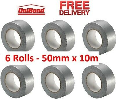 6 x UniBond Duct Tape Silver 50mm x 10m - Heavy Duty Water Res Industrial Gaffa