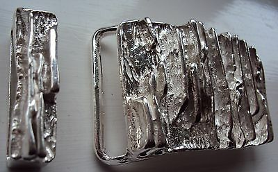 """Solid Sterling Silver Belt Buckle """"The Royale"""" with Solid Silver Belt Keeper"""