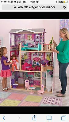 "KidKraft Elegant Wooden Doll Manor with 12 Pieces of Furniture for 18"" Dolls"