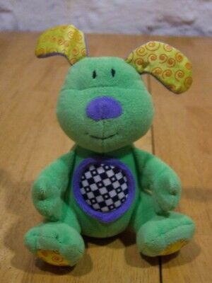 "Kids II BRIGHT GREEN DOG RATTLE 6"" Plush Stuffed Animal"