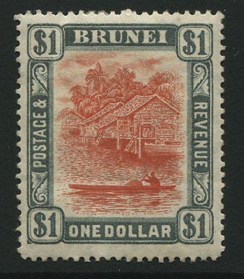 Brunei: 1907 $1 stamp - red & grey SG33 MM / crease - AG167