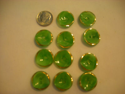 "Eleven Vintage Light Green Glass Buttons 3/4"" in diameter Gold Painted A152"
