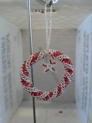 New Handmade Beaded red and Silver Wreath Ornament 3""
