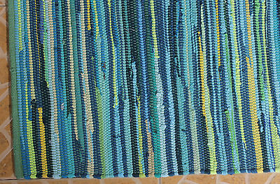 New Chindi Rug Hand Woven Handmade Mat Recycled Cotton Striped Rag Rug 4'x6'33""
