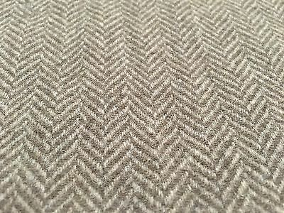 Next Fabric Herringbone / Tweed Dark Natural 100% Wool Fabric £15 Per Metre