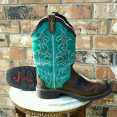 Gypsy Turquoise & Pebble Brown Leather Cowgirl Justin Western Boots Square Toe