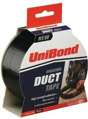 6 x Unibond Duct Tape 50mm x 25 Metres Black - Heavy Duty Water Res Industrial