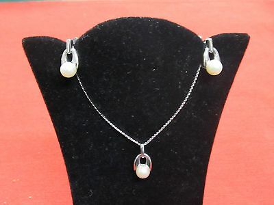 14K White Gold Pearl Earring & Necklace Pendant Suite Set Signed Adpg