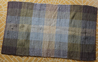 Indian Chindi Rug Hand Woven Handmade Mat Recycled Cotton Striped Rag Rug