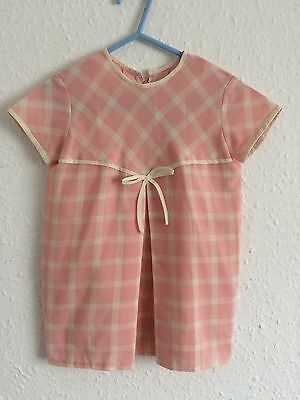 Vintage Pink Cream Checked Cotton 60s Mini Mod Smock Shift Tunic Dress 2-3 Y