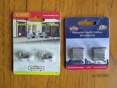 TWO New OO Gauge Accessories - Bachmann Woodstacks and Hornby Trolleys