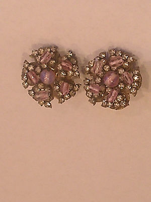 Vintage 1940'S Signed Miriam Haskell Prong Rhinestones Wired Art Glass Earrings