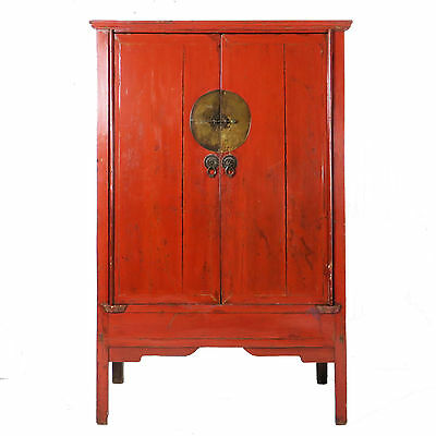 "Antique Chinese Asian Red 2 door Wedding Wardrobe Cabinet 71"" tall, 45"" Wide"