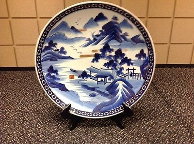 """Blue and White Japanese charger signed by Artist with plate holder15"""".Very old"""