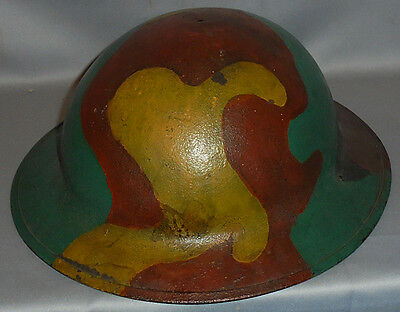 -Rare- WWI -US Army- Vintage Camouflage Doughboy Painted Camo Uniform Helmet