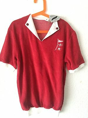 Vintage Deadstock Kids 70s French Towelling Nautical Red T Shirt Top 8 9 10
