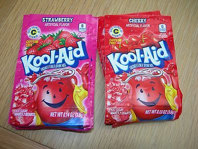 Kool-Aid Cherry and Strawberry Caffeine free unsweetened drink mix from America