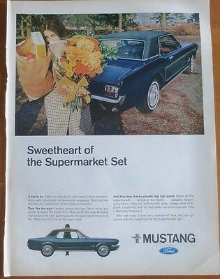 FORD MUSTANG Car Print Ad 1960's Vintage Advertising