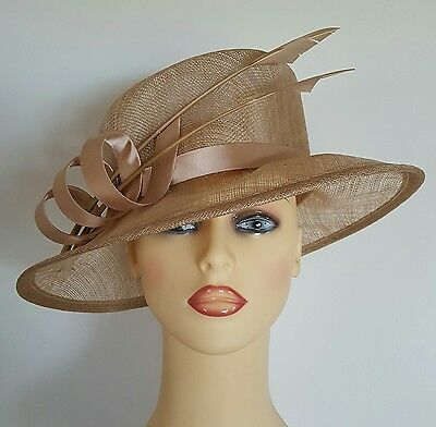 Ladies Wedding Hat Races Mother Bride Ascot Hat Gold Satin Loops Feathers