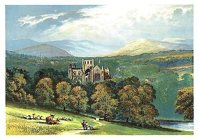 Melrose Abbey, Roxburghshire, Scottish Borders (Cistercian) By A. F. Lydon c1880
