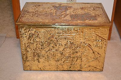 """20"""" x 13"""" Vintage Rustic Old World Hammered Brass Covered Over Wood Chest/ Trunk"""
